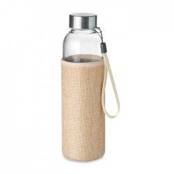 Szklana butelka z neoprenowym etui z mieszanki jutowej