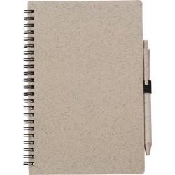 Notatnik ok. A5 ze słomy pszenicznej z długopisem